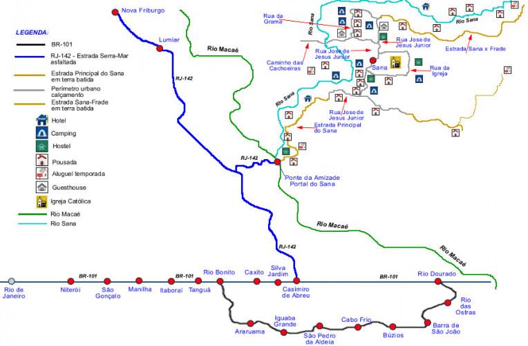 Mapa ilustrado de como chegar a Sana