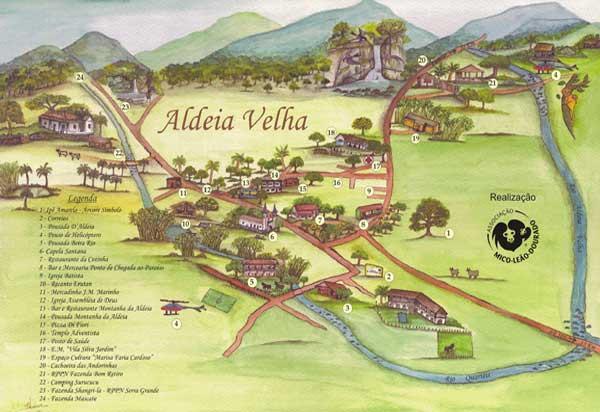 Mapa de Aldeia Velha-RJ. Fonte: aldeiavelha-ipuca.blogspot.com.br