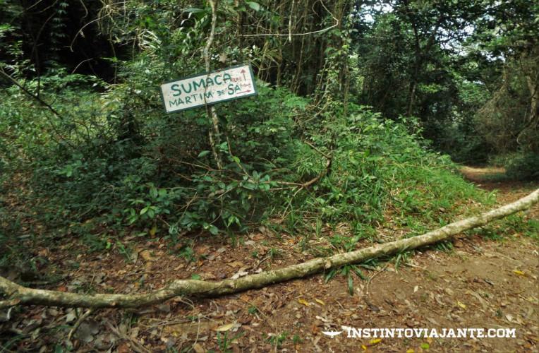 Placa na trilha indicando o caminho para a praia da Sumaca e a trilha para Pouso da Cajaíba ou Martim de Sá.