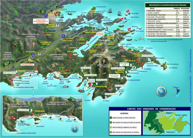 Mapa da praia do Sono e da Área de Proteção Ambiental do Cairuçu, Paraty/RJ