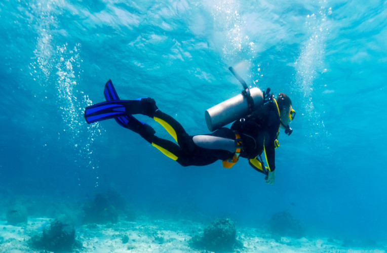 Silhueta de um mergulhador submerso