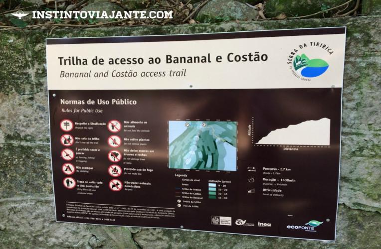 Placa do Parque Estadual da Serra da Tiririca com dados das trilhas do Costão de Itacoatiara e Enseada do Bananal.