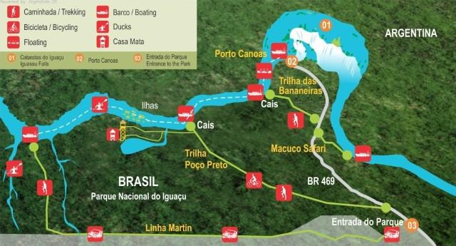 Mapa das trilhas pagas, dentro das Cataratas do Iguaçu (lado brasileiro). Fonte: cataratasdoiguacu.com.br.