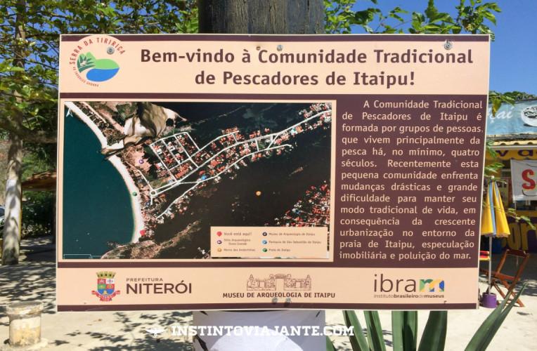 Placa da vila de pescadores de Itaipu, Niterói.