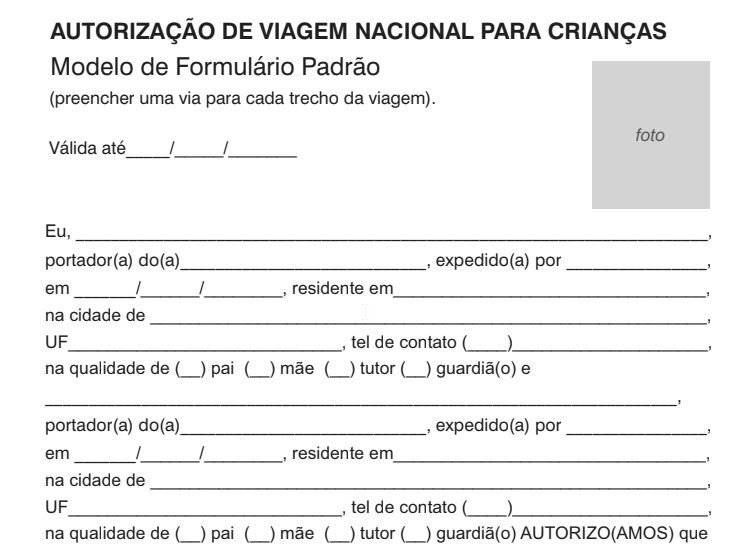 Download Formulario de Autorizacao para menor viajar