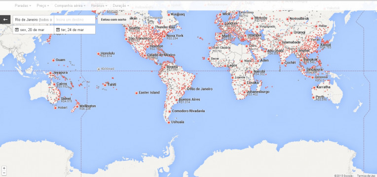 Mapa Google Flight