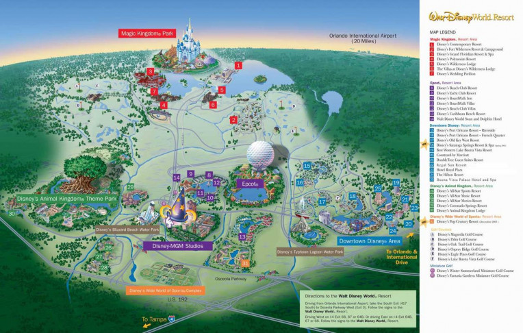 mapa da disney completo - Walt Disney World Resort map
