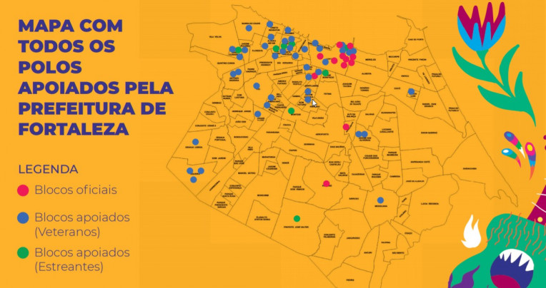 Mapa Polos Carnaval Fortaleza 2020 Ceara - Shows