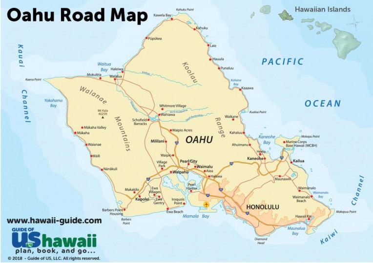 Ilha de Oahu - Havaí - Mapa da Ilha
