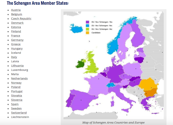 Mapa e lista de países tratado de Schengen